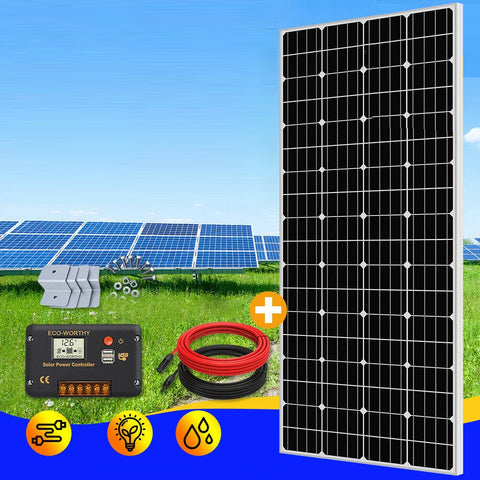 300W Watt Mono Solar Panel Kit 20A Regulator 12V Battery Charger Caravan Camping