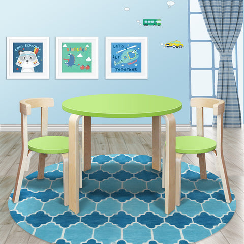 New Modern Stylish Kids Table Chairs Round Wooden Set in Lime Green Colour