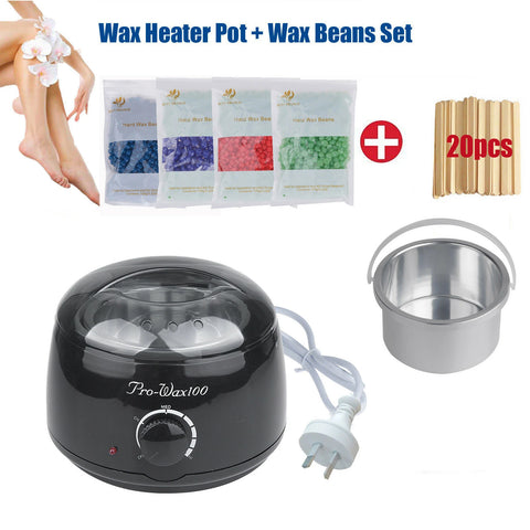 Body Waxing Kits 400g Hard Wax Beads Beans Waxing Heater Hair Removal + Strips