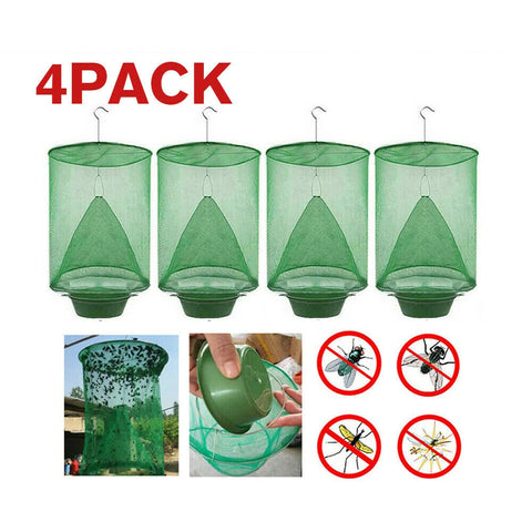 4 PCS Ranch Fly Trap Insect Killer Net Cage Outdoor Bug Pest Hanging Catcher