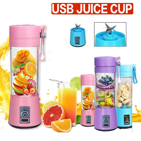 *6 Blades* Portable USB Electric Fruit Juicer Maker Blender Bottle Juice Shaker