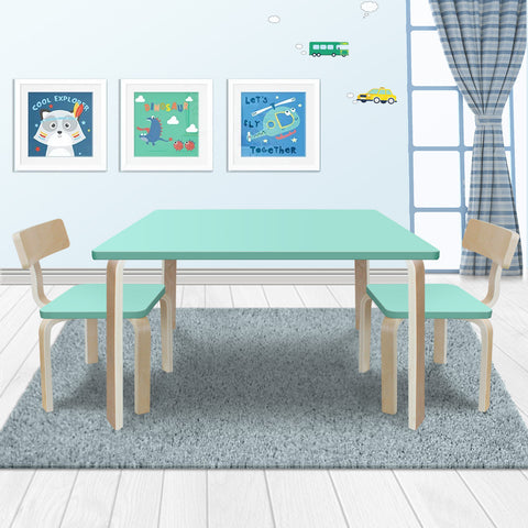 0.02 New Modern Stylish Kids Table Chairs Rectangle Wooden Set Light Cyan Colour