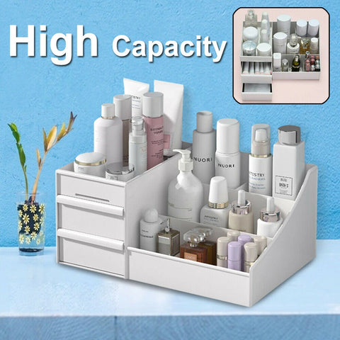 Makeup Storage Box Cosmetic Stationery Drawer Desktop Table Organiser Holder AU (White)