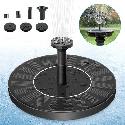 Bird Bath Floating Solar Fountain Pump Water Panel Power Kit Pool Garden Pond