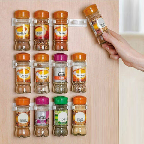 5~20 Clip Kitchen Spice Gripper Strip Jar Rack Storage Holder Wall Cabinet Door
