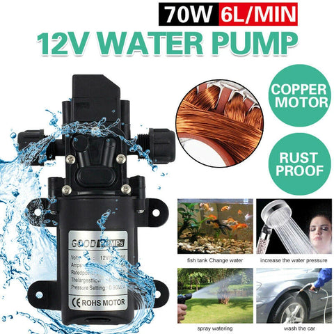 12V 6L/Min High Pressure Micro Diaphragm Water Pump 70W 130Psi Car Caravan Boat