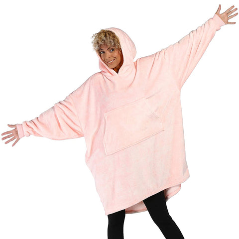 Heather Pink One Size Fits All Oversized Light Microfiber Wearable Blanket