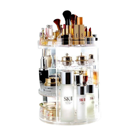 360° Rotating Acrylic Makeup Organiser Clear Cosmetics Brush Holder Storage Box
