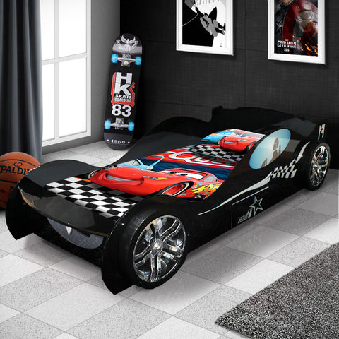 New Batman's Kids Racing Car Bed Racer Black Colour With Drawer & 3D Wheel #1152b