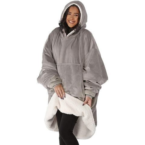 Gray Microfiber & Sherpa Wearable Blanket Hoodie One Size Fits All
