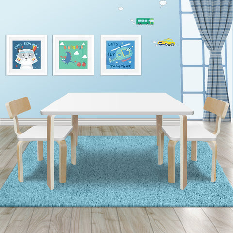 New Modern Stylish Kids Table Chairs Rectangle Wooden Set in White Colour