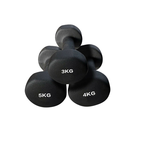 3kg - 4kg - 5kg Neoprene Anti-Slip Dumbell Weight Set - Buy a Set With Free Rack
