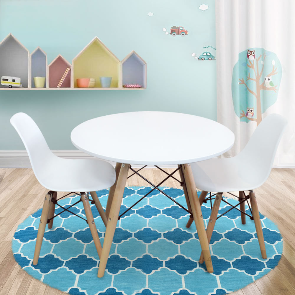 1.01 Kids Table And Chairs Package  1 X Round Table 2 X White Chairs