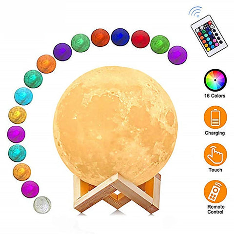 3D Lunar Moon Lamp Moonlight LED Night Light Touch Pad Remote Dimmable 20cm
