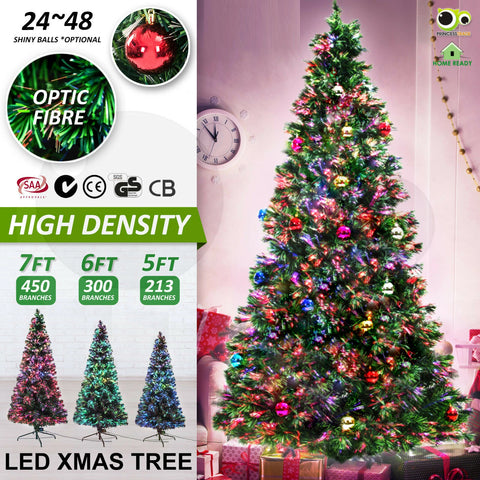 5Ft 6Ft 7Ft LED Christmas Tree Xmas Tree Multi Colour Optic Fibre Lights