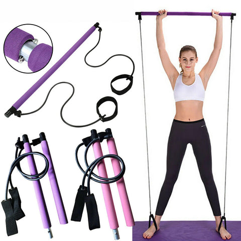 Exercise Pilates Bar Kit with Resistance Band Pilates Stick Toning Bar Portable