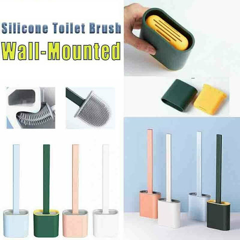 Silicone Toilet Brush with Toilet Brush Holder Creative Cleaning Brush Set NEW K