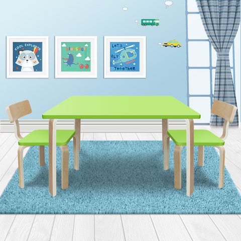 New Modern Stylish Kids Table Chairs Rectangle Wooden Set Lime Green Colour