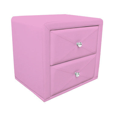 Pink PU Leather Bedside Table