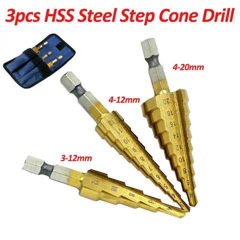 3pcs HSS Steel Step Cone Drill 3-12/4-12/4-20mm Titanium Bit Set Hole Cutter