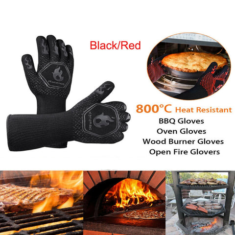 2x1472°F Heat Proof Resistant Oven BBQ Gloves 35cm Kitchen Cooking Silicone Mitt