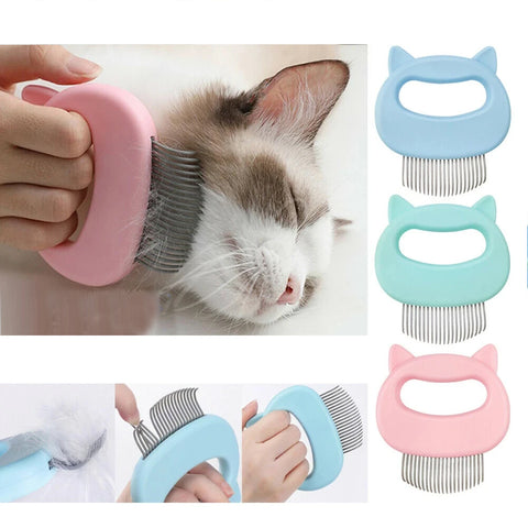 Relaxing Cat Comb Massager Pet Grooming Brush Dog Hair Removal Open Knot