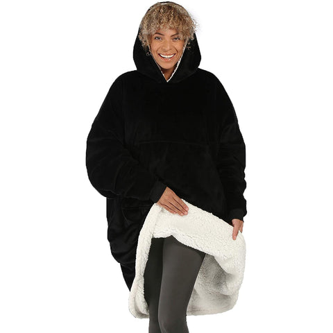 Black Microfiber & Sherpa Wearable Blanket Hoodie One Size Fits All