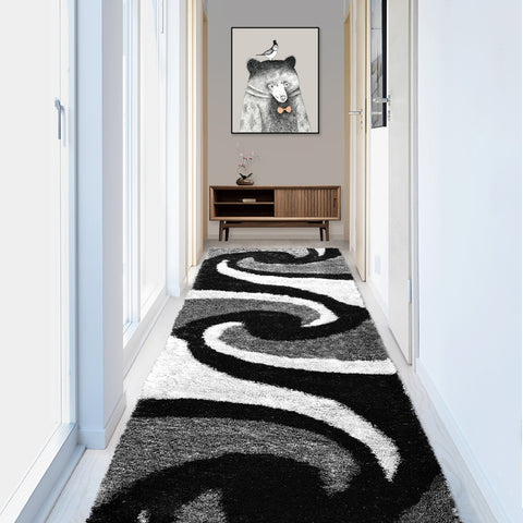 Stylish Super Soft Hallway Runner Shaggy Rug in Black White Grey