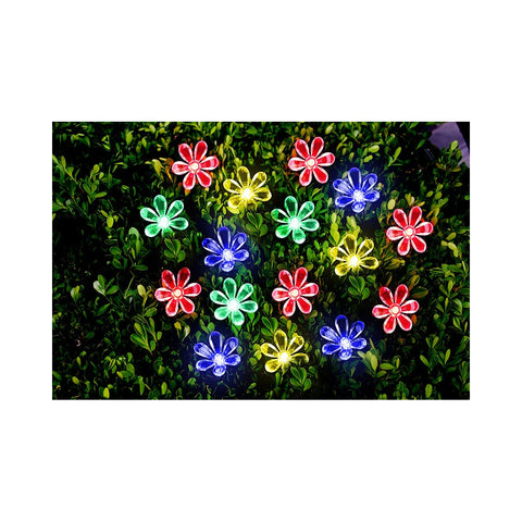 5.9M 50LED Multi Colour solar Flower Party Lights Outdoor Garden Fairy Christmas Light