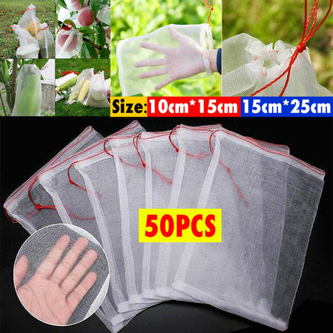 50PCS Fruit Net Bags Agriculture Garden Vegetable Protection Mesh Insect Proof