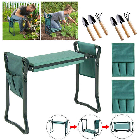 2 in1 Garden Seat Kneeler Foldable with 2 Tool Pouch Home Outdoor Bench Knee Pad (Blue)