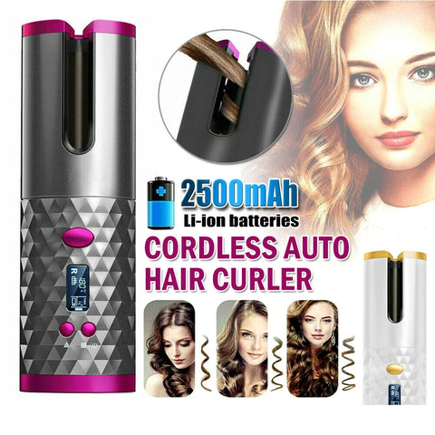 Cordless Hair Curler Auto Rotating Wireless Hair Waver Curling Iron LCD Ceramic