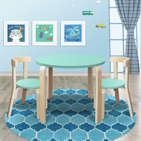 New Modern Stylish Kids Table Chairs Round Wooden Set in Light Cyan Colour