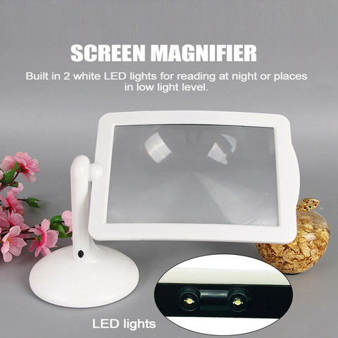 3X Large Lens Lighted Lamp Desk Magnifier Magnifying Glass Holder LED Light AU