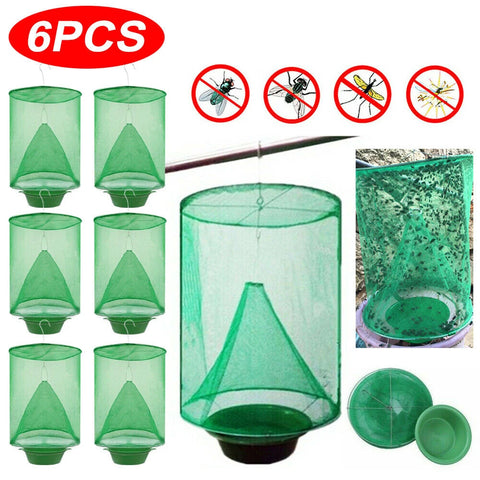 6PCS Ranch Fly Trap Insect Killer Net Cage Home Outdoor Bug Pest Hanging Catcher