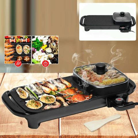 2 in 1 Electric BBQ Grill BARBECUE Steamboat Nonstick Smokeless Hotpot Hot Pot