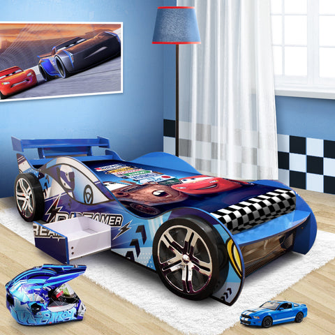 "2018-New Design ""Dreamer""  Kids Racing Car Bed Blue"