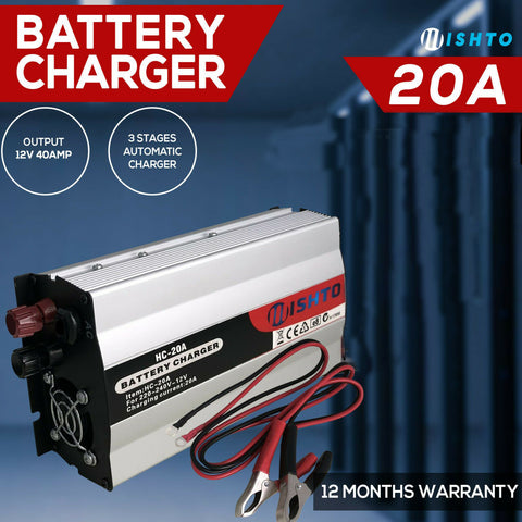 12V Battery Charger 20 Amp 240V For ATV Boat 4WD Caravan Motorcycle