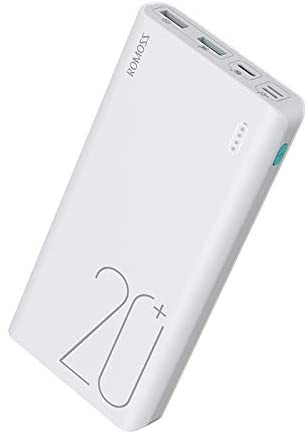 20000mAh Power Bank, ROMOSS Sense 6 Plus Portable Charger External Batteries with 18W QC 3.0 PD and LED Indicator Compatible with iPhone, iPad, Samsung Galaxy and More, White