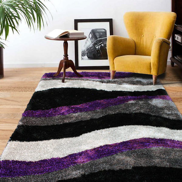 Purple Black White Grey Modern Soft Thick Shaggy Non