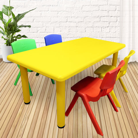 1.2M Kid's Adjustable Rectangle Yellow Table with 4 Chairs Mix Set