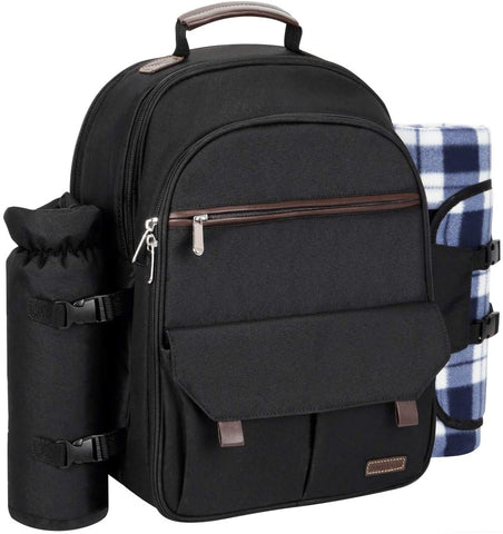 Black Picnic Backpack for 4 Person Set Pack with Stainless Steel Flatwares