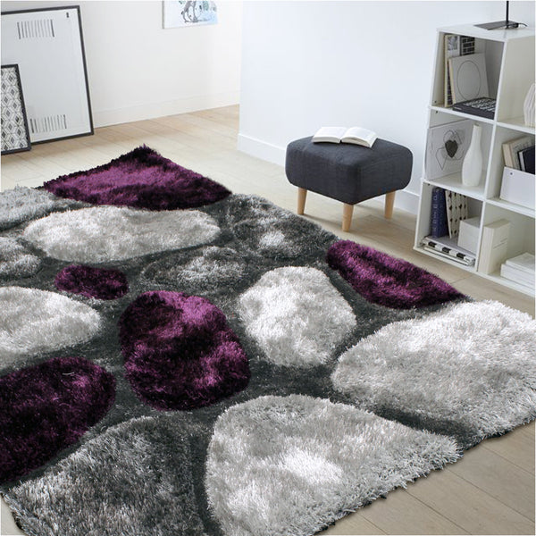 3d Thick Soft Shag Rug In Purple Grey Oliandola