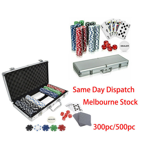 300/500pc Casino Size Chips Poker Set Gambling Party Game Cards Dice w/case