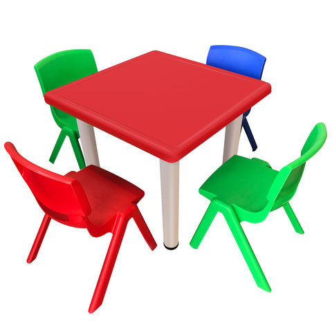 1.04 Kid's Adjustable Mixed Square Table with 4 Chairs Set With Red Table