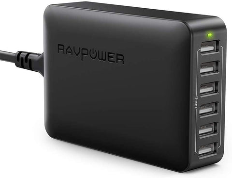 USB Charger RAVPower 60W 12A 6-Port Desktop USB Charging Station with iSmart Multiple Port, Compatible iPhone 11 Pro Max XS Max XR X 8 Plus, iPad Pro Air Mini, Galaxy S9 Edge, Tablet and More (Black)