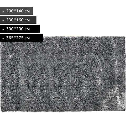 Rectangle Black White Shag Rug