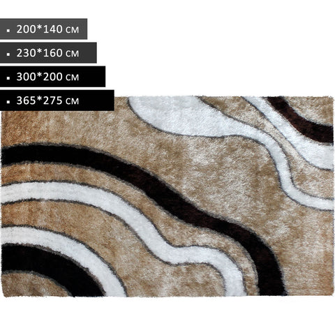 Rectangle Champgne White Coffee Shag Rug