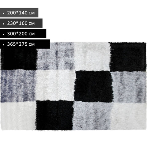 Rectangle Grey Black White Shag Rug