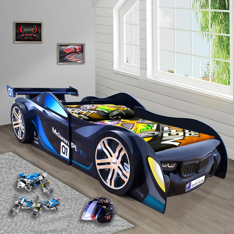 0.3 2019 McLaren P1 Blue for Kids Racing Racer Night Car Bed Single Size